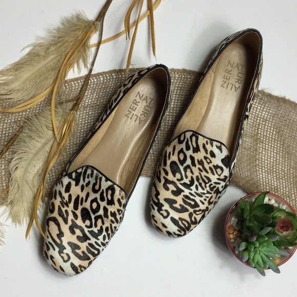 Leopard Leather Calf Hair Flats 75 M